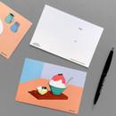 Design comma-B Sweet dessert illustration postcard
