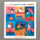 003 - Design comma-B Retro illustration squared paper sticker