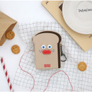 ROMANE Toast zipper card holder pouch with key clip