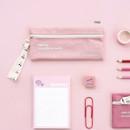 Pink - ICONIC Cottony flat zipper pencil case pouch