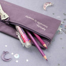 Purple - ICONIC Cottony flat zipper pencil case pouch