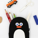 Black - ROMANE Brunch Brother penguin zipper pencil case