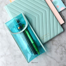 Aqua Blue - Play Obje Twinkle translucent PVC pencil case pouch