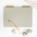 O-check Vintage gray twin ring dots grid notebook