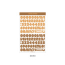 Brown - Wanna This Ddung phabet bold Number letter sticker