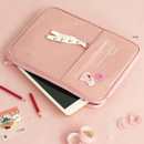 Pink - ICONIC Cottony iPad tablet PC 11 inches zipper sleeve case