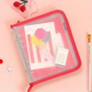Milky Scarlet - 2NUL Cherry pick wide A6 6-ring PVC zipper binder