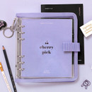 Lavender - 2NUL Cherry pick wide A6 6-ring PVC button binder