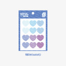 Wave -  Wanna This Heart check large deco sticker set of 3 sheets