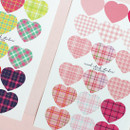 ICIEL Newtro large check heart paper sticker set