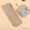 Almond beige - Dash And Dot Be simple synthetic leather zipper pencil case