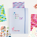 Baby blue - Basic 20 rings sticker organizer book with Alphabet stickers