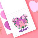 Heart big shape paper sticker set of 4 sheets