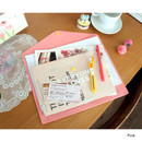 Pink - Clear button file folder case
