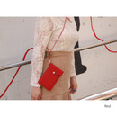 Red - Soft chamude smartphone strap pouch