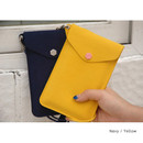 Navy / Yellow - Soft chamude smartphone strap pouch