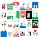 Composition of Ming romantic vintage label sticker set