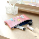 Pink - Ghost pop cute illustration zipper pouch M