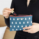Navy - Ghost pop cute illustration zipper pouch M