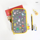 Gray - Ghost pop cute illustration pencil pouch
