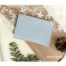 Baby blue - Coin card zipper wallet holder with Key ring