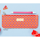 Red flower - Flower pattern slim zipper pencil case