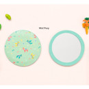 Mint pony - Flower pattern pocket round handy mirror