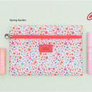 Spring garden - Summer pattern flat zipper pouch small