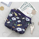 Navy - Willow story illustration pattern coin case wallet