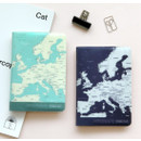 World map passport cover case
