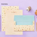 Brown bunny - Animal letter paper and envelope set