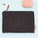 Pink - Wool pattern flat zipper medium pouch