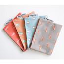 Mr.wood pattern zip flat pouch