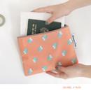 Peach - Mr.wood pattern zip flat pouch