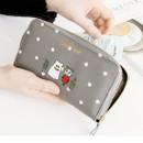 Gray - Ghost pop zip around medium long wallet