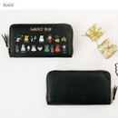 Black - Ghost pop zip around medium long wallet