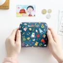 Navy - Ghost pop zip around small wallet