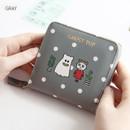 Gray - Ghost pop zip around small wallet