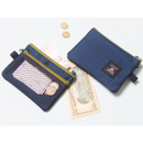Navy - Double pocket mesh zipper pouch small