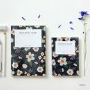 Navy - Breezy windy flower pattern lined notebook