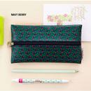 Navy berry - Pattern middle zipper slim pouch