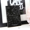Black - World map lined and plain small notebook