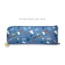 Blue - Willow story pattern daily zipper pencil case