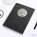Planet #A - Planet wirebound lined notebook