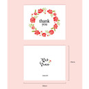 Size of Thank you flower wreath message card