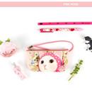 Pink hood - Choo Choo cat vanilla candy zipper pouch