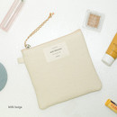 Milk beige - Wish blossom mind small zipper pouch