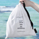 White - Go swimming drawstring waterproof pouch ver.2