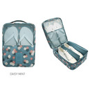 Daisy mint - Pattern travel shoes mesh pocket pouch