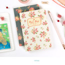 White - Blooming flower pattern lined notebook small